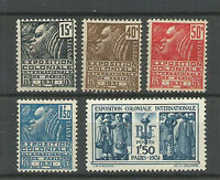 FRANCE N° 270/274 EXPOSITION COLONIALE 1931 Neufs**. Cote 145€