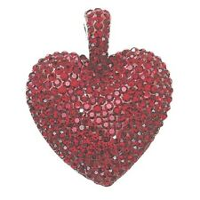STUNNING HEAVY 9.8g STERLING SILVER RED CRYSTAL LOVE HEART PENDANT CHARM