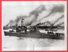 1937 Ijn Japanese Destroyer on Whangpoo River Shanghai China Original News Photo