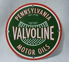 VINTAGE VALVOLINE PORCELAIN SIGN GAS MOTOR SERVICE STATION PUMP OIL RARE AD