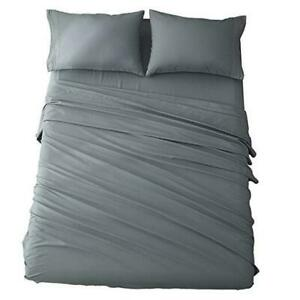 Size Bed Sheets Set Microfiber 1800 Thread Count Percale Super King Dark Grey