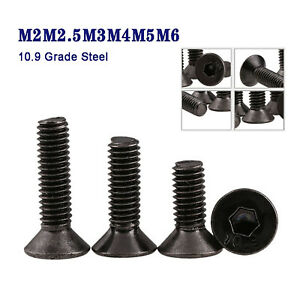 Senkkopfschrauben M2M2.5M3M4M5M6 Innensechskant 10.9 Stahl Schwarz Vernickelt