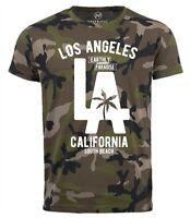 Neverless® Cooles Herren T-Shirt Los Angeles California LA Palme Camo Tarnmuster