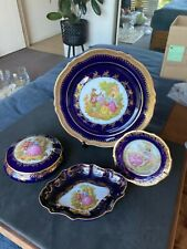 Limoges Castel large plate small plate trinket dish and jewelry bowl w/lid