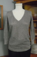 The Limited Silver Metallic Top Small Gray Cotton Blend Pointelle V Neck