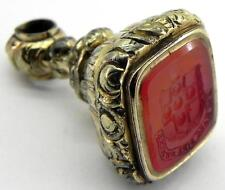 Antique Gold Plated Wax Seal Fob, Armorial Coat of Arms, Ellis Family.
