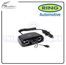 Anello Auto 12V 2 VIE MULTI PRESA ADATTATORE Con Presa Usb & Micro Usb Spina RMS15