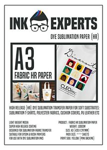 A3 Fabric HR 100g Sublimation Transfer Paper 50 Sheet for T-Shirt & Fabrics