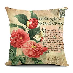 18'' Vintage Flower Cotton Linen Throw Pillow Case Cushion Cover Home Decor