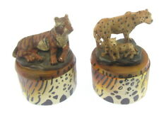BOTH X  Animal Safari 2 x gifts new boxed Trinket Boxs with leopard & tiger