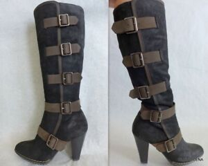 SOFFT Two-tone Suede/Leather Buckle High heel  Boots Size 7.5M
