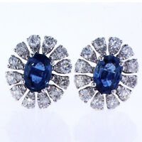 2.46 CT Diamond and Sapphire Earrings set in 18K White Gold