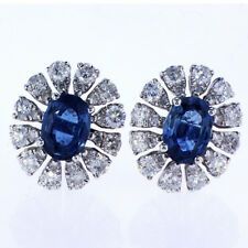 2.46 CTW Diamond and Sapphire Earrings 18K White Gold