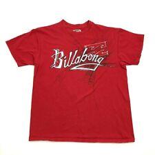 Billabong Texte Chemise Taille Large Rouge Ajustement de Baggy Coton Bio Mélange