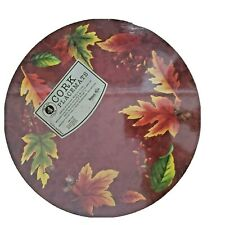 """New listing Set Of 4 Hard Placemats W/ Cork Back, 14"""" Round, Fall Leaves, Thanksgiving"""