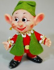 VINTAGE 1950s Elf Pixie Green & Red Felt Outfit Mischievous Handpainted Face