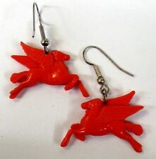 pair of Mobil Gas Pegasus figural pierce earrings in orangish red 0