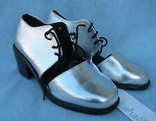 SHAKUHACHI Silver Metallic Low Split Brogues Women's Shoes US 6.5 EU 37 $295 New