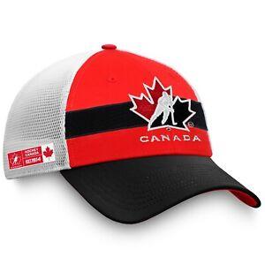 Men's Red Black White Team Hockey Canada Trucker Snapback Adjustable Hat Cap