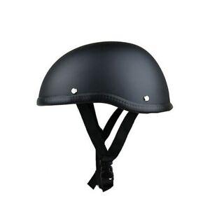 Motorcycle Half Helmet Skull Cap Black Novelty Chopper German Dome Inner Liner