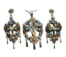 Antique 14K Gold Turquoise Bird Swallow Chandelier Pendant Earrings Set Video