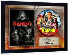 Rambo 5 Last Blood Sylvester Stallone SIGNED FRAMED PHOTO AND CD Disc