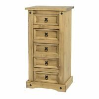Corona Mexican Waxed Solid Pine 5 Drawer Tallboy Chest Bedroom Unit Wooden