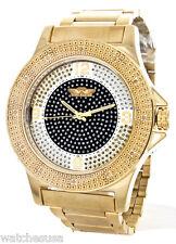 Kings Master Men's Stainless Steel Gold-tone Black Dial 0.12ct Diamond Watch