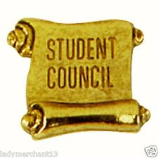 """STUDENT COUNCIL"" Antique Gold Enamel Lapel Pins/Lot of 10/ALL NEW LINE!"