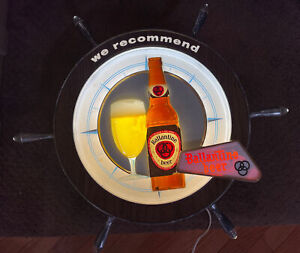 Vintage Ballantine Beer Advertising Lighted Ships Wheel Sign