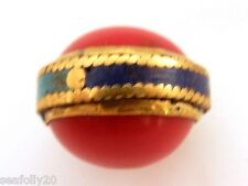 1x 25x20mm nepalese handmade beads, brass turqouise coral combined post savings