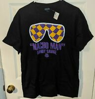 *NEW w TAG* MACHO MAN RANDY SAVAGE WWE Wrestling Sunglasses Logo T-Shirt Mens L