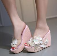 Womens Wedge High Heel Platform Slip On Shoes Slippers Flower Beads New Sandals