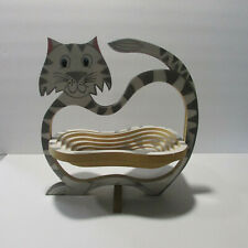 wooden painted cat collapisble bowl grey stripe cat kitchen decor