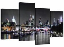 Large London City Scene Canvas Wall Art Picture Multi 4 Panel 130cm