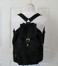 TALBOTS Black Nylon Leather Trim Flap Drawstring Backpack Purse Handbag
