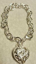 8 INCH ROLO SILVER BRACELET WITH FILIGREE HEART CHARM