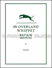 1926 1927 1928 Overland Whippet 96 Repair Shop Manual helpful for 96A 1929-1931