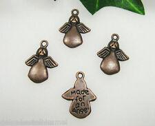 8 Metall Anhänger - Made for an Angel Farbe Kupfer, Perlen basteln