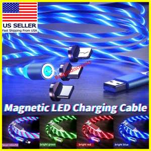 Magnetic LED Light Up USB Phone light up Charger Cord For iPhone Type C Micro US