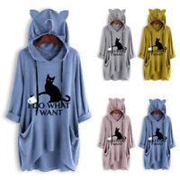 Women Hoodies Cat Ear I DO WHAT I WANT Long Sleeve Casual Pullovers Sweatshirt