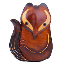 Genuine Leather Handmade Women Beauty Brown Classic Fox Coin Purse Animal Wallet