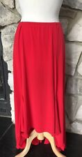 Chico's Flounce Hi Lo Hem Red Flare Bottom Elastic Waist Skirt 3 = 16 18 NEW
