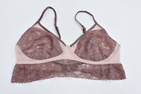 Gilligan O'malley Womens Frilly Wirefree Mauve Lace Bralette Bra Sz L NEW