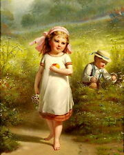 Reinhart Print c19th Farm Children Brother Barefoot Sister w/ Daisies & Apples