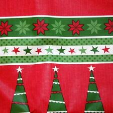 CHRISTMAS TREE SNOWFLAKE BORDER VINYL TABLECLOTH~Flannel Back~52x70 Oblong~NEW.