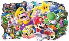Super Mario Wall Smash Crack Self Adhesive Wall Sticker Decal Print Poster