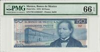 Mexico PMG Certified Banknote UNC 66 EPQ Gem 1978 50 Pesos Pick 67a