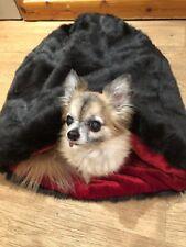 CHIHUAHUA PUPPY DOG PET CAT BED LUXURY FAUX FUR SNUGGLE SACK SAK BAG