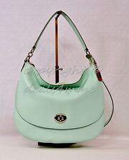 NWT! Coach 36762 Pebbled Turnlock Hobo/Crossbody Bag in Seaglass - Light Green